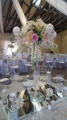 Crystal, wedding flowers, wedding decor, crystal candelabra